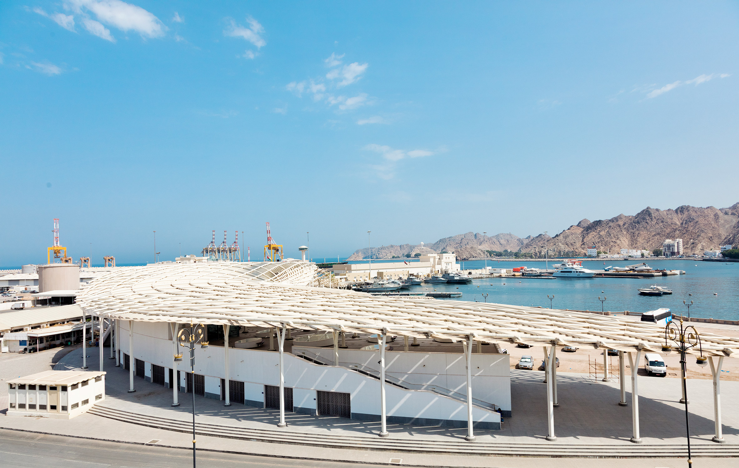 Snøhetta's Muttrah Fish Market features slatted canopy inspired by Arabic calligraphy