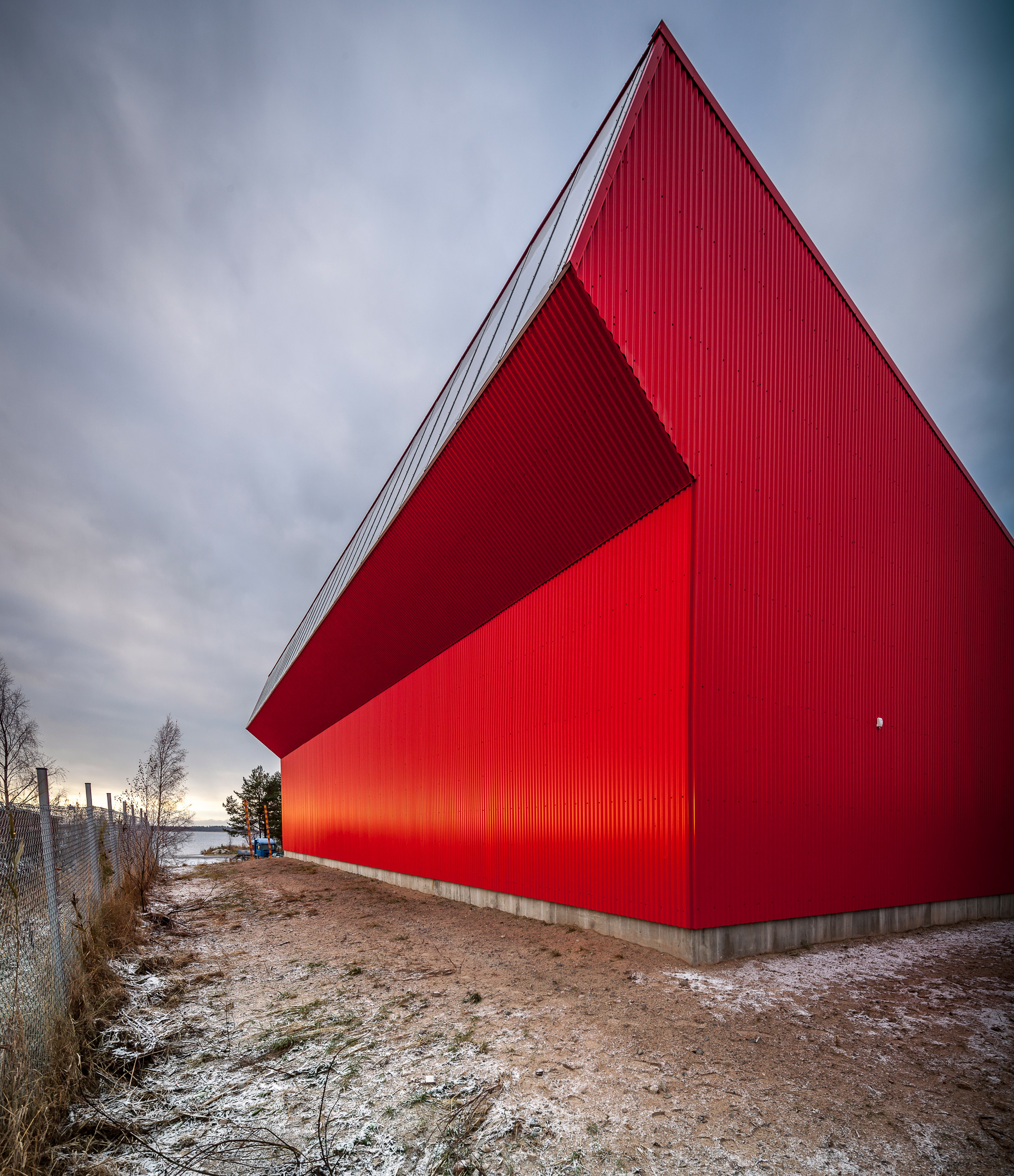 Oil-spill recovery unit in Finland is illuminated by angled clerestory window