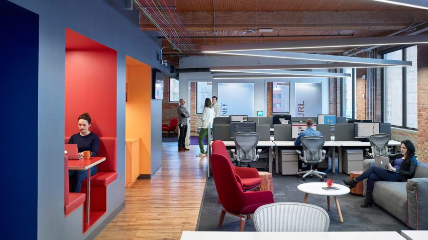 colourful booths furniture and cables enliven slack s toronto office