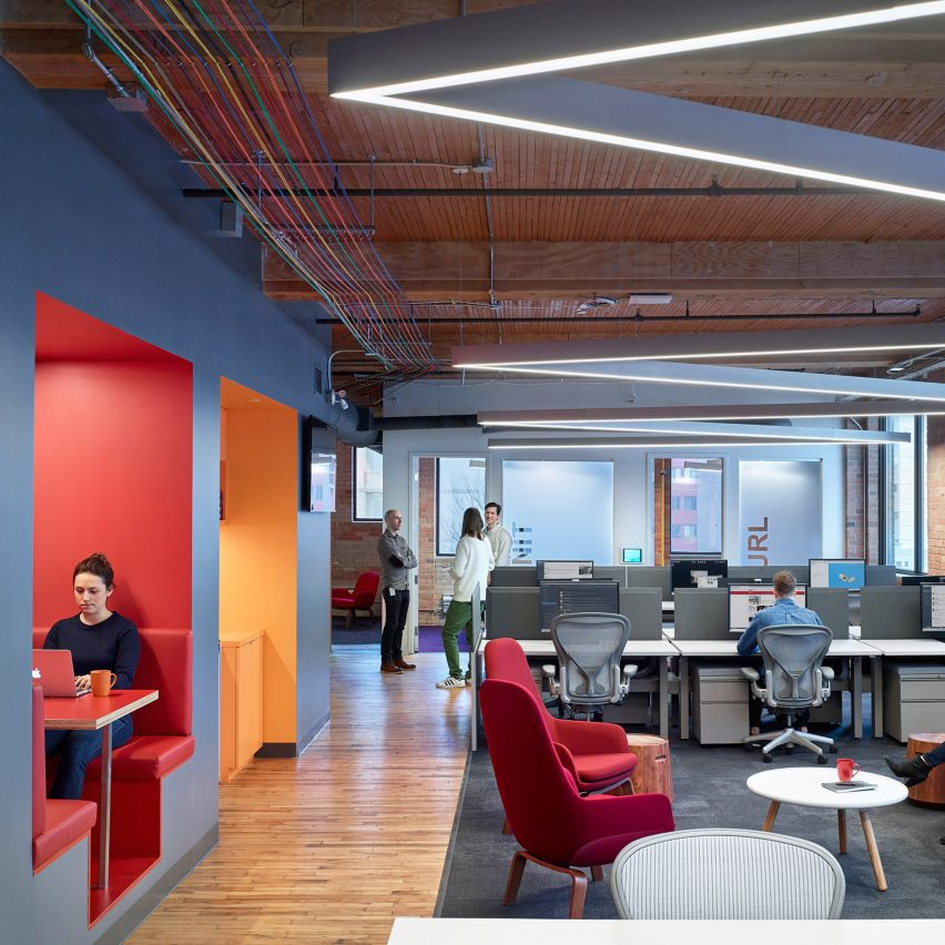 Colourful booths furniture and cables enliven slack 39 s toronto office by dubbeldam dezeen for Milwaukee interior design firms