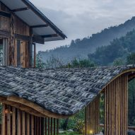 Wavy tiled roof of Springingstream guesthouse is based on the outline of surrounding mountains