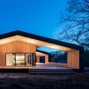 oversized roof shelters terraces at cebras danish summer house