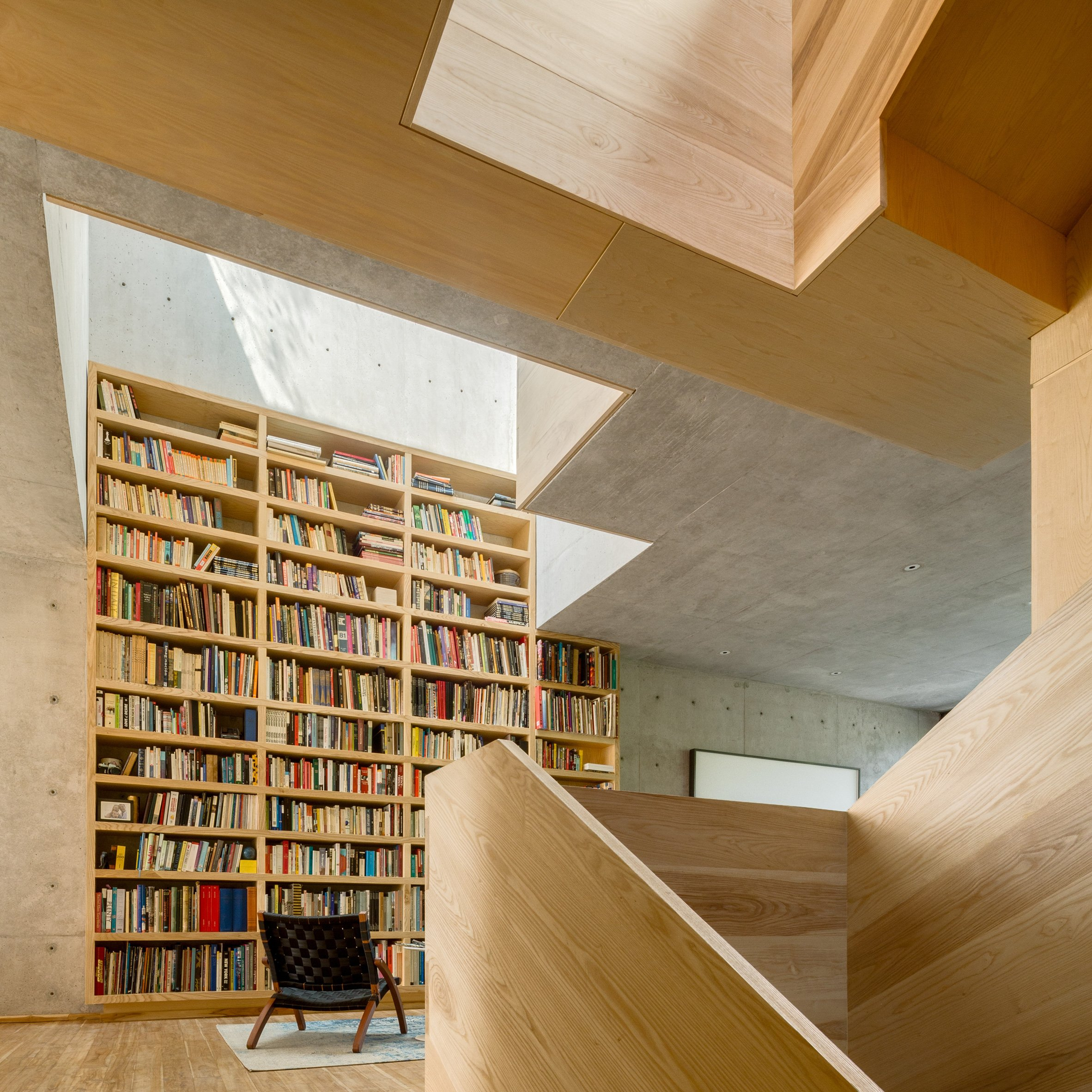 Wooden Staircase Twists Through Centre Of Concrete And Brick House In  Mexico City