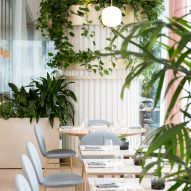 The Botanist restaurant by Ste Marie features rosy hints and copious greenery