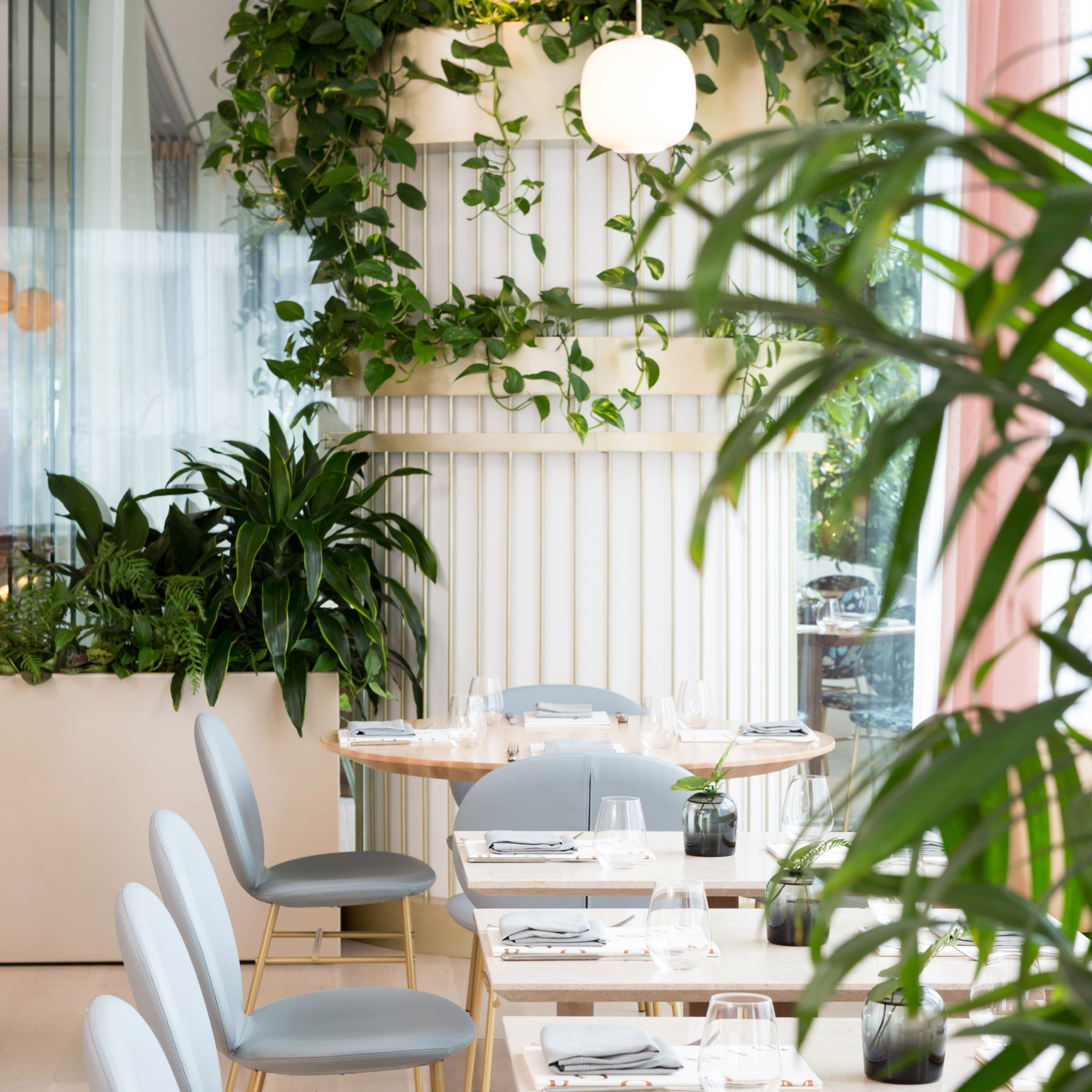 The Botanist Restaurant By Ste Marie Has Rosy Hints And Copious Greenery
