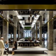 New lobby and social hub by A+I opens in Chicago's historic Merchandise Mart