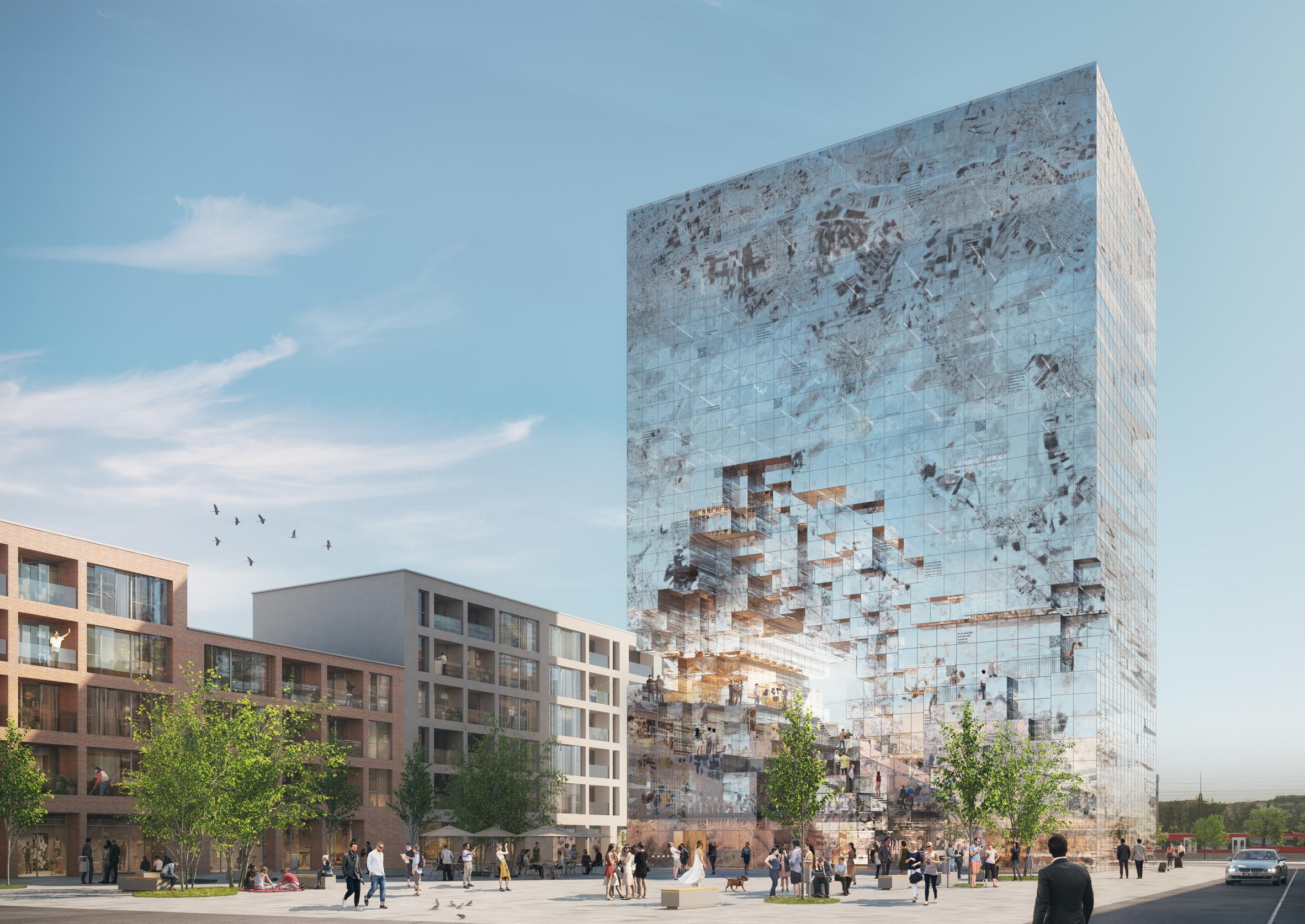 """MVRDV reveals renderings of mirrored """"crystal rock"""" office block in Germany"""
