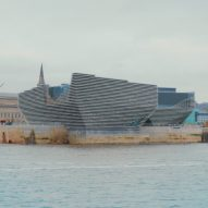 Drone footage shows the V&A Dundee nearing completion