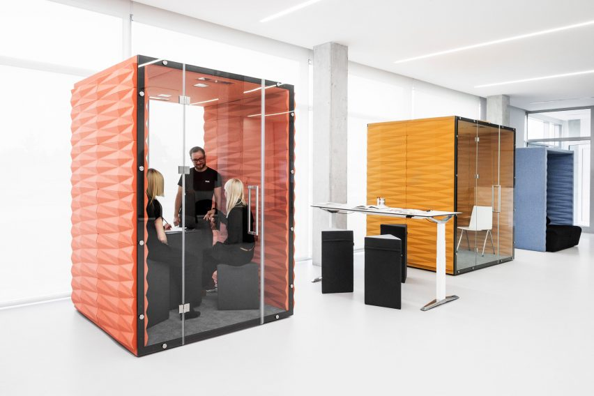 Office Pod Vanku0027s soundproof pods offer private workspaces for open-plan offices