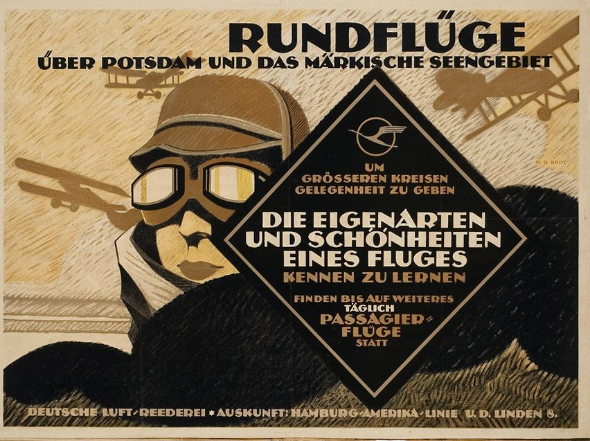 Poster from 1919 featuring Otto Firle's flying-crane logo for Deutsche Luft-Reederei, Lufthansa's predecessor.
