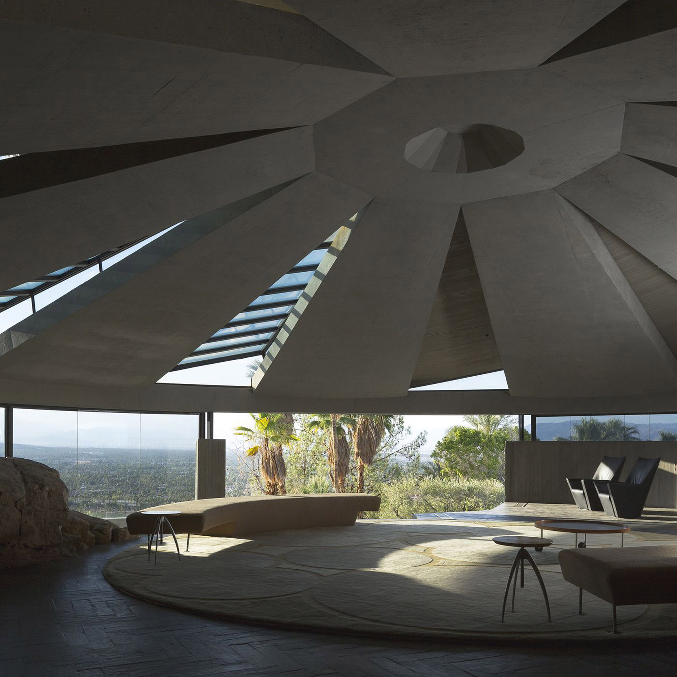 John Lautner's concrete domed Elrod House overlooks Coachella Valley