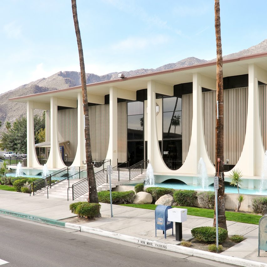 Tapered colonnade fronts Coachella Valley Savings and Loan bank by E Stewart Williams