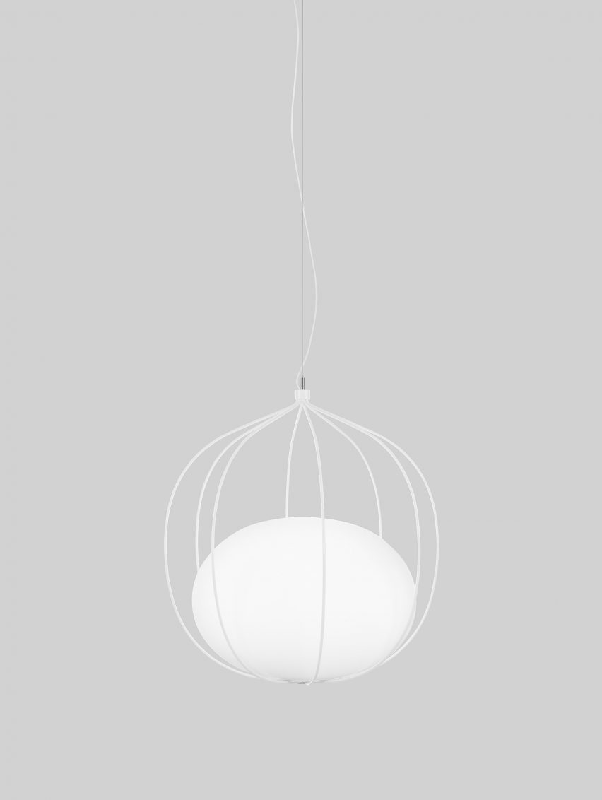 Front\'s Hoop lamp features glass pendant trapped inside wire cage
