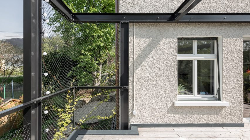 HHF Architects Adds Pergola Like Extension To Traditional Swiss Villa