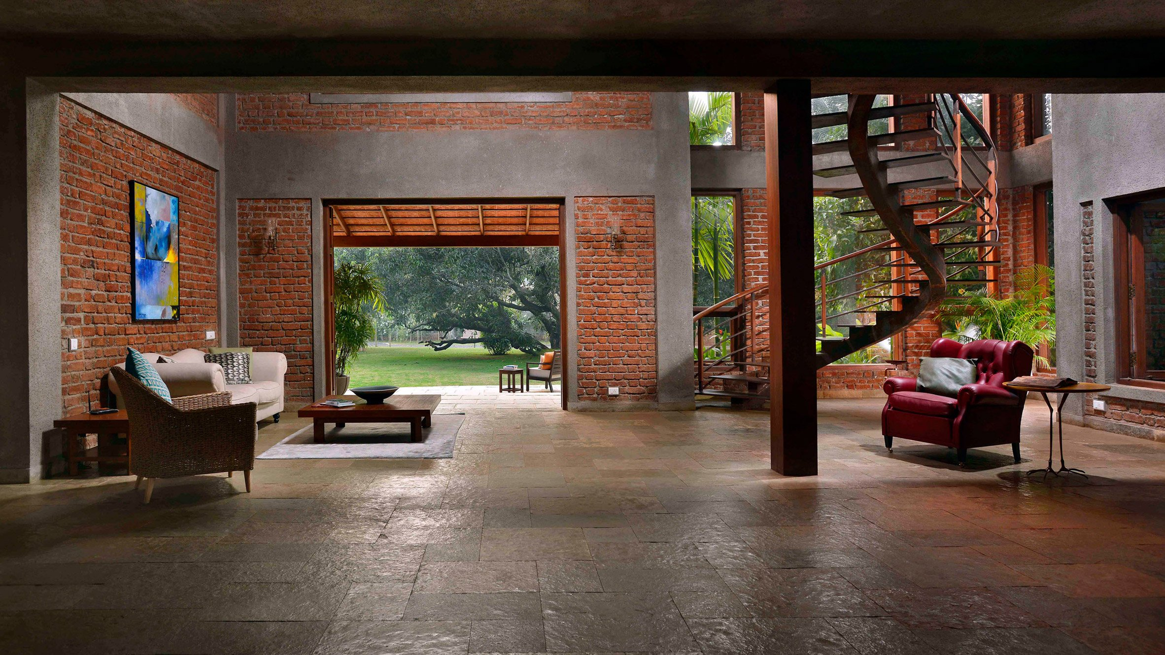 Brick Lined Interiors Open Onto Garden Filled With Fruit Trees At The Mango  House