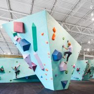 Faceted structures and colourful holds form climbing walls in Minneapolis bouldering gym