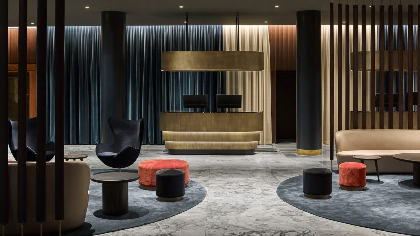 space copenhagen renovates arne jacobsen hotel using updated classic