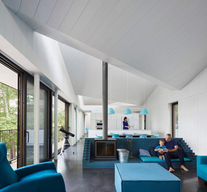 Sawtooth roof tops lakefront Sky House in Canada