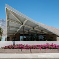 Tramway Gas Station by Frey and Chambers is a modernist gatehouse for Palm Springs