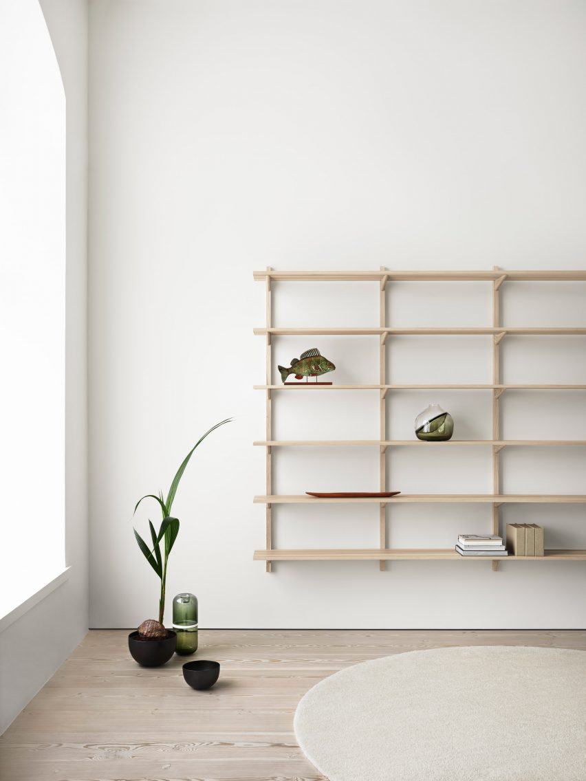 His other designs include a stackable american ash storage trough a 1960s inspired cabinet in american ash veneer with chamfered edges around the doors