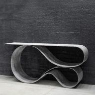 Neal Aronowitz folds Concrete Cloth into sculptural table