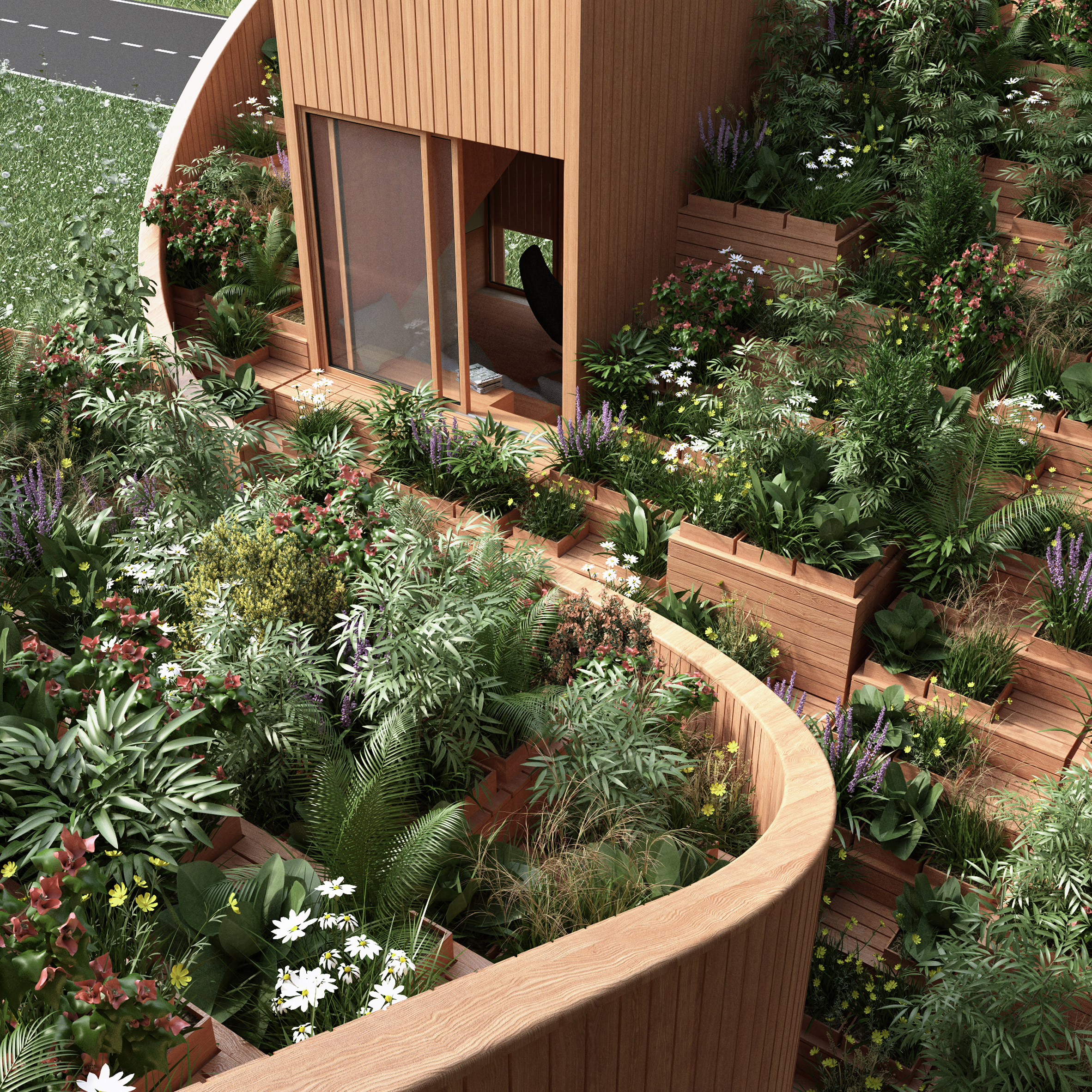 Self-sufficient Yin & Yang house incorporates gardens on its interlocking roof
