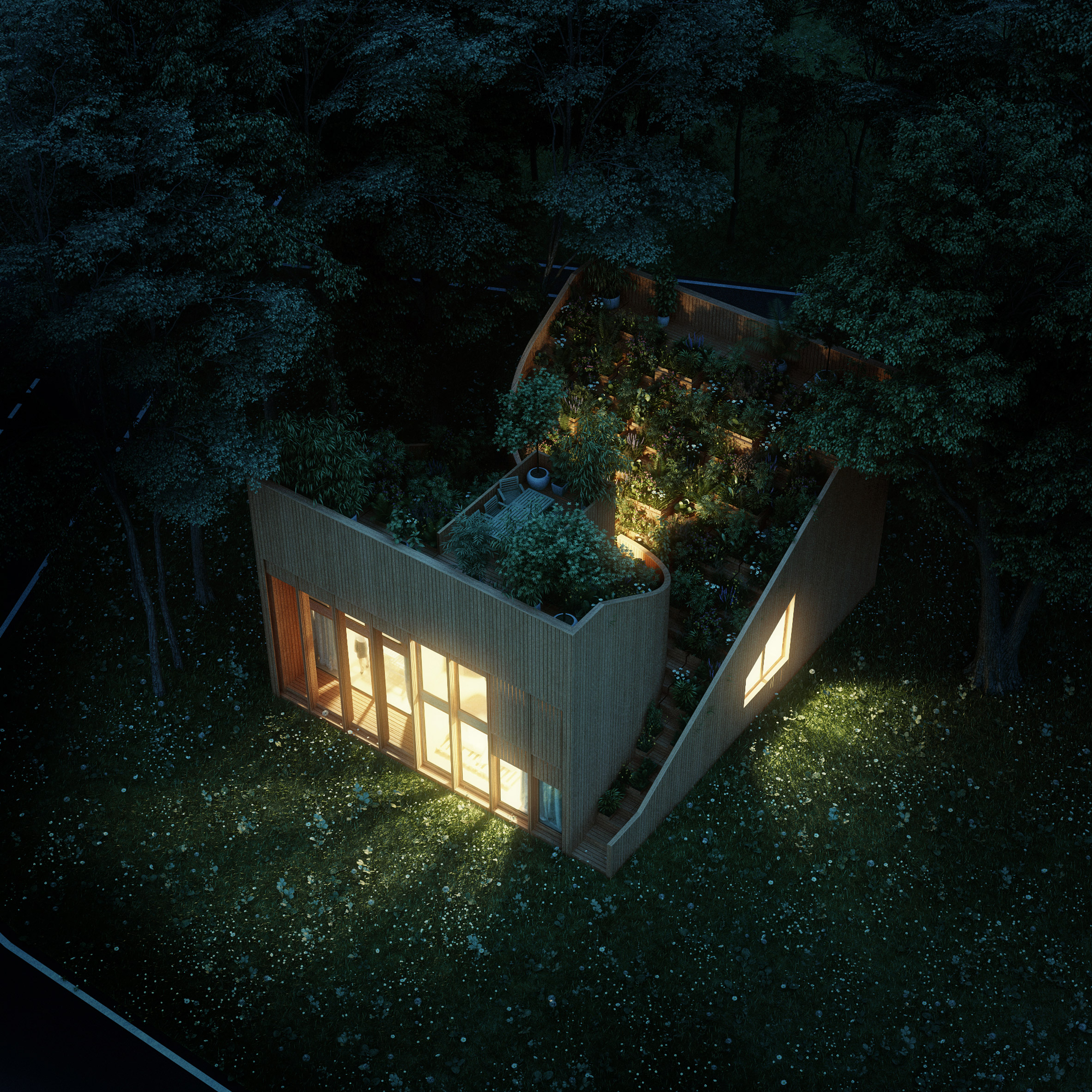 Self-sufficient Yin & Yang house incorporates gardens on its interlocking dual-aspect roof