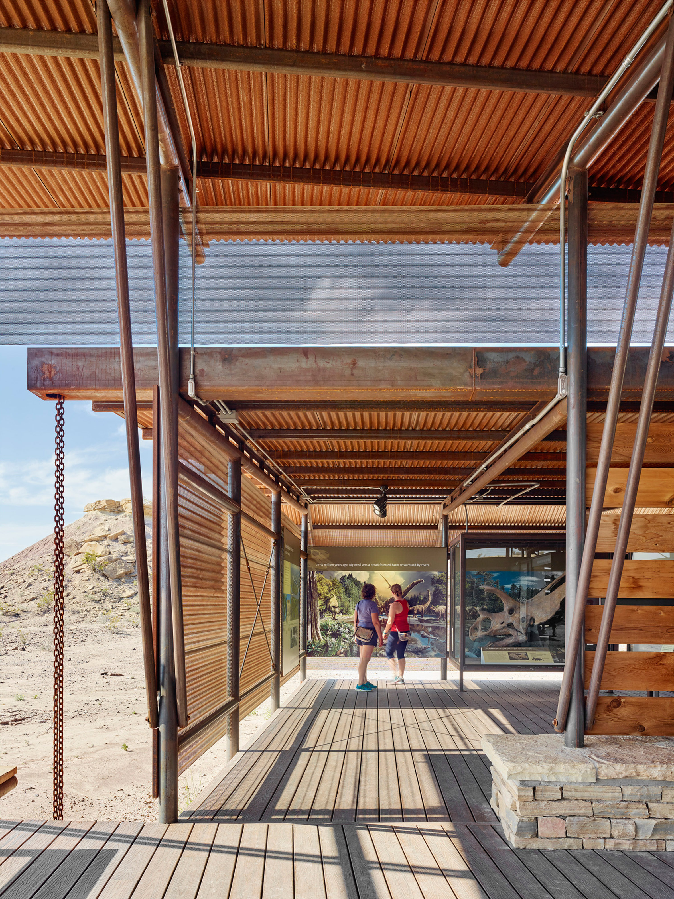 Dinosaur fossil park in Texas gains rust-coloured visitor centre by Lake Flato