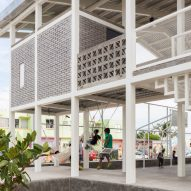 Pitched-roof structure revitalises public space at Veracruz port