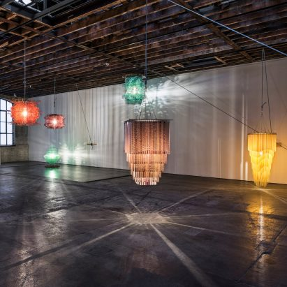 "Cuban-American artist Jorge Pardo has created a series of large-scale plastic resin chandeliers and laser-cut birchwood ""paintings"" for an exhibition at gallery Victoria Miro in London."