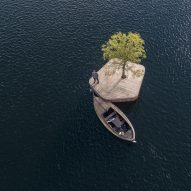 Artificial island creates floating events space in Copenhagen harbour