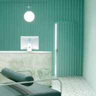 Pharmacy waiting room in Brooklyn features calming turquoise tones