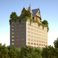 "Philippe Starck designs ""phantasmagoric"" hotel topped with a house for Metz"