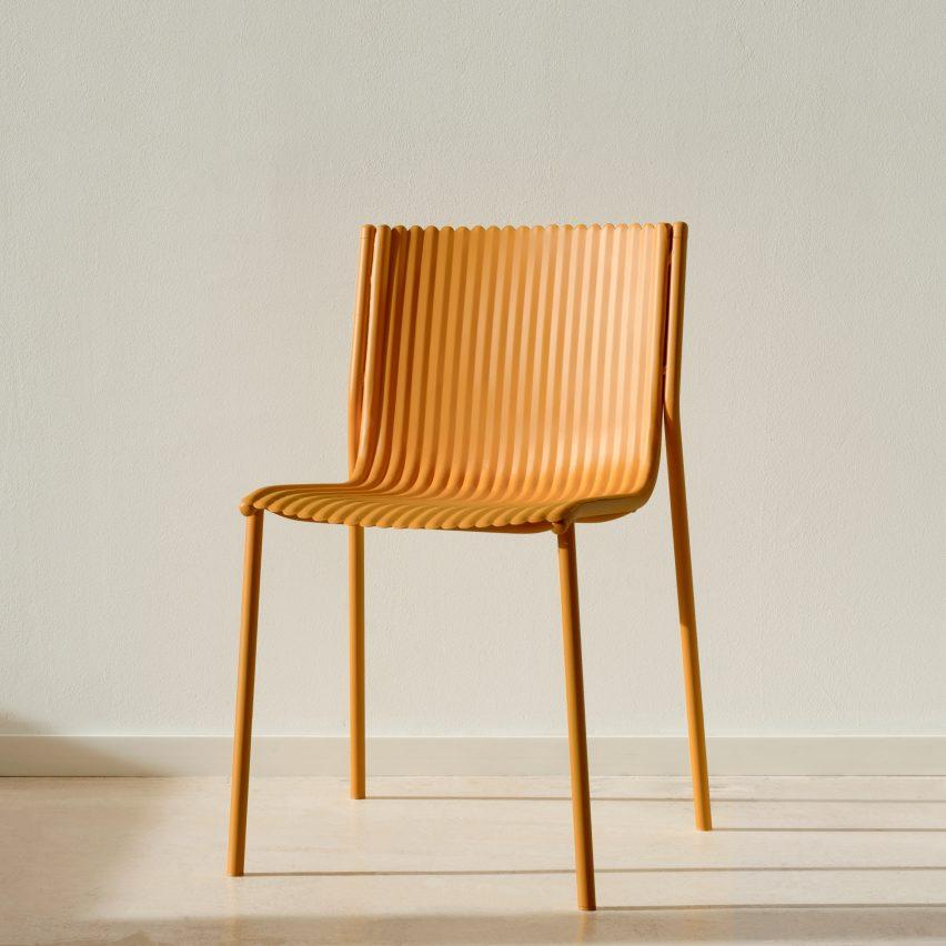 Ilseop Yoon creates pleated chairs from sheets of aluminium