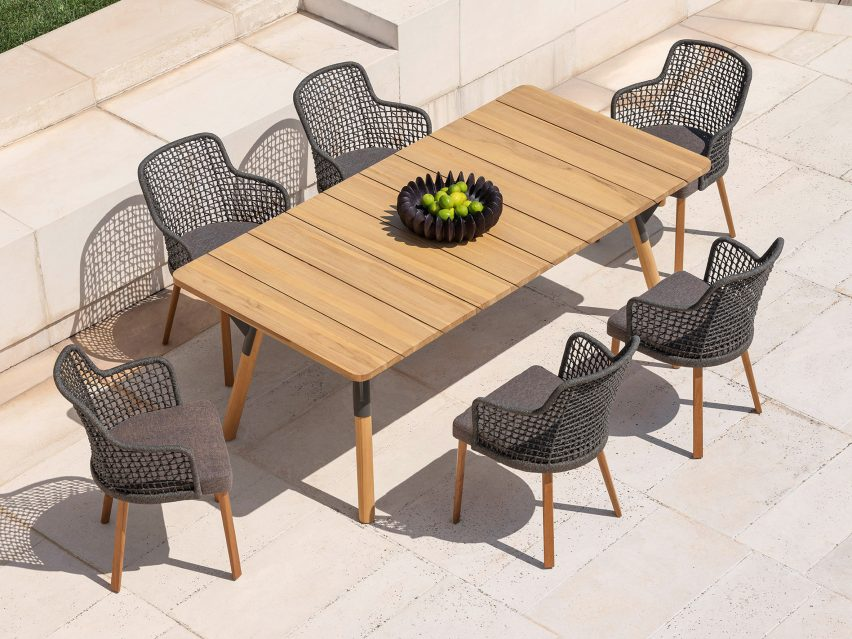 Monica Armani creates outdoor chair with woven backrest for Varaschin