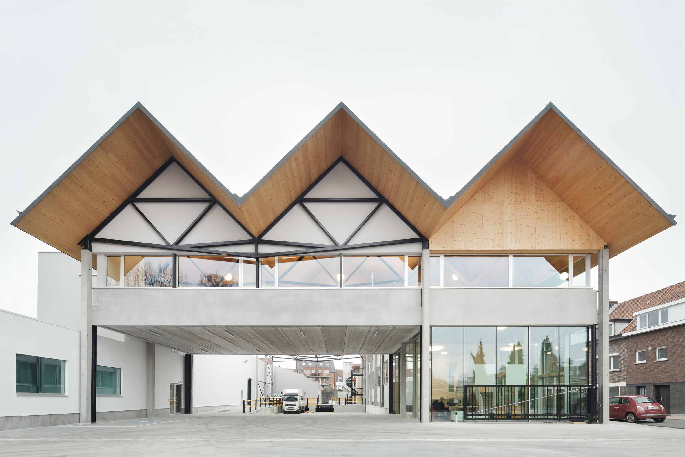 Factory with pitched roofs designed to complement terraced housing