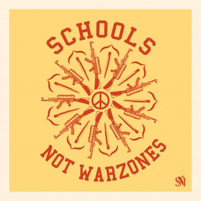 Shepard Fairey's Schools Not Warzones poster
