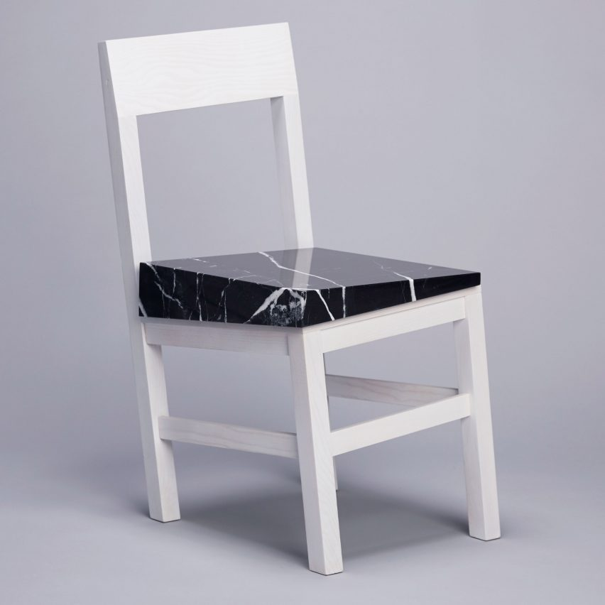 New York Studio Snarkitecture Designed The Slip Chair To Appear Unusable,  Giving It A Wonky Structure Topped With A Marble Seat.