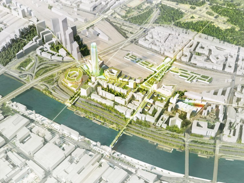 Charenton-Bercy District Masterplan and Tower in Eastern Paris