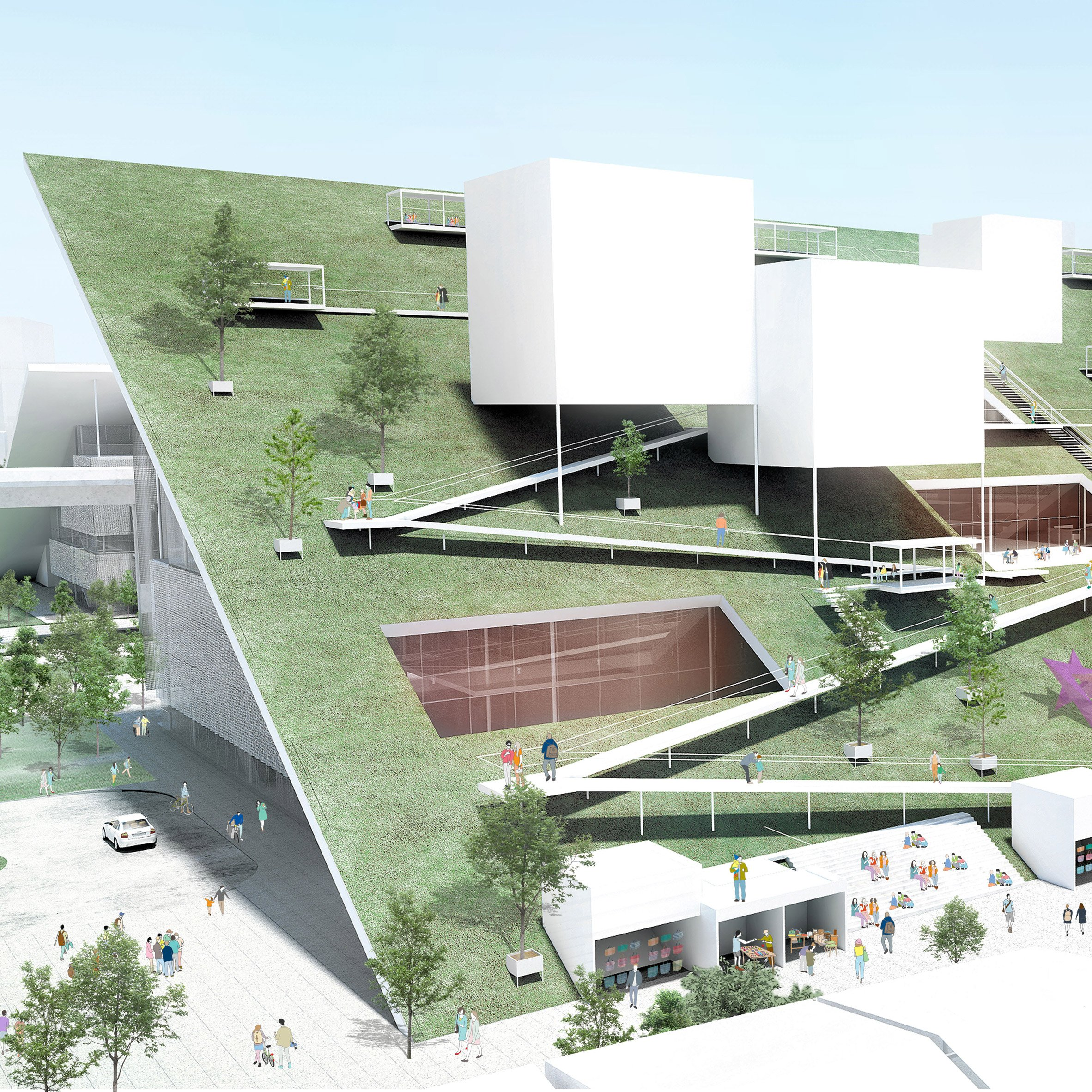 Winning Design For Taiwan Art Museum Features Sloped Green Roofs