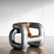 Lucas Muñoz creates Tubular furniture from ventilation pipes and scrap metal