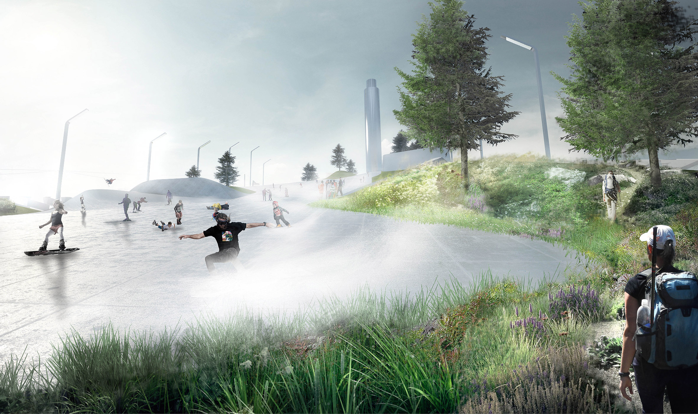 SLA Architects' ski park atop BIG's Copenhagen power plant to open this year