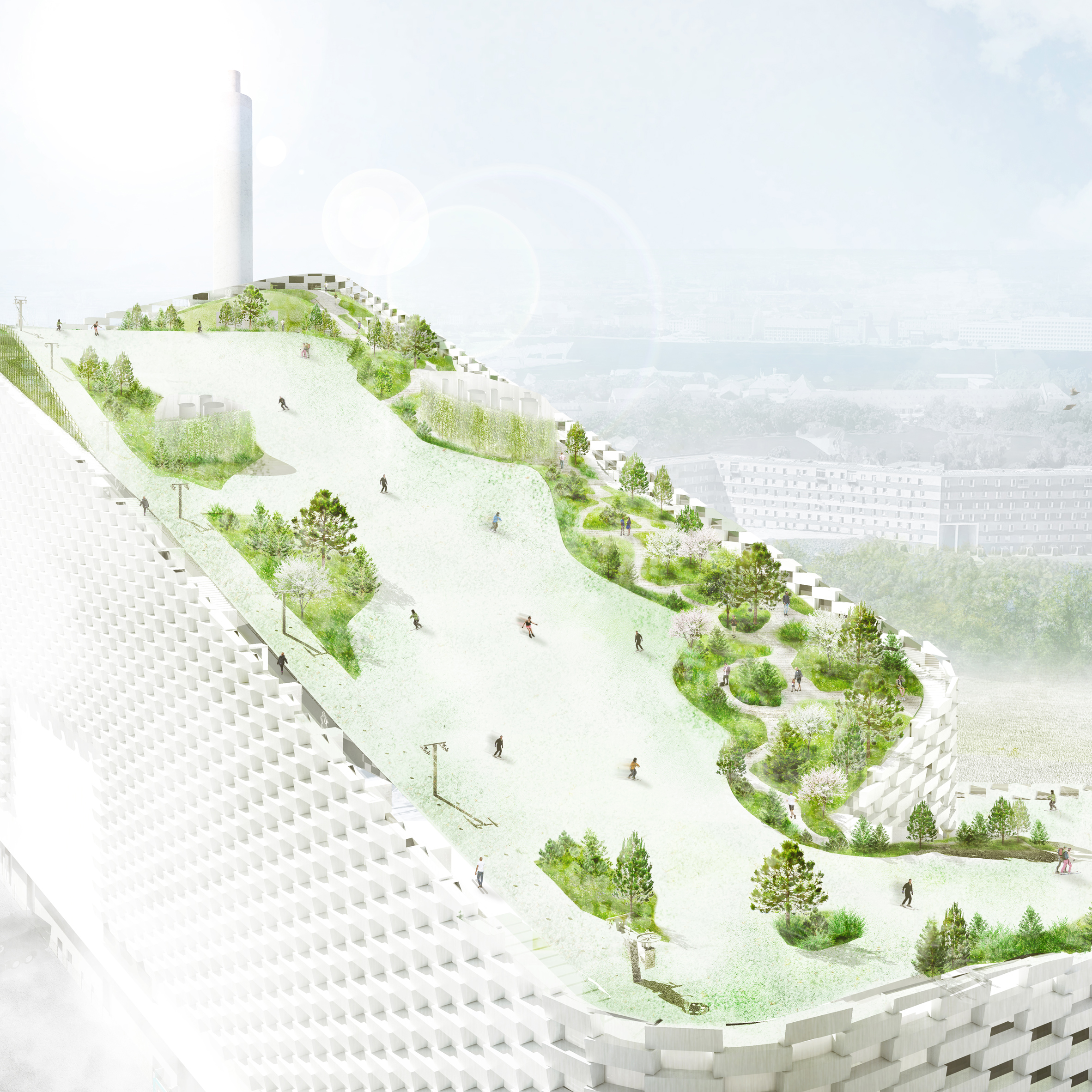 Amager Beach Park sla architects' ski park atop big power plant to open this year