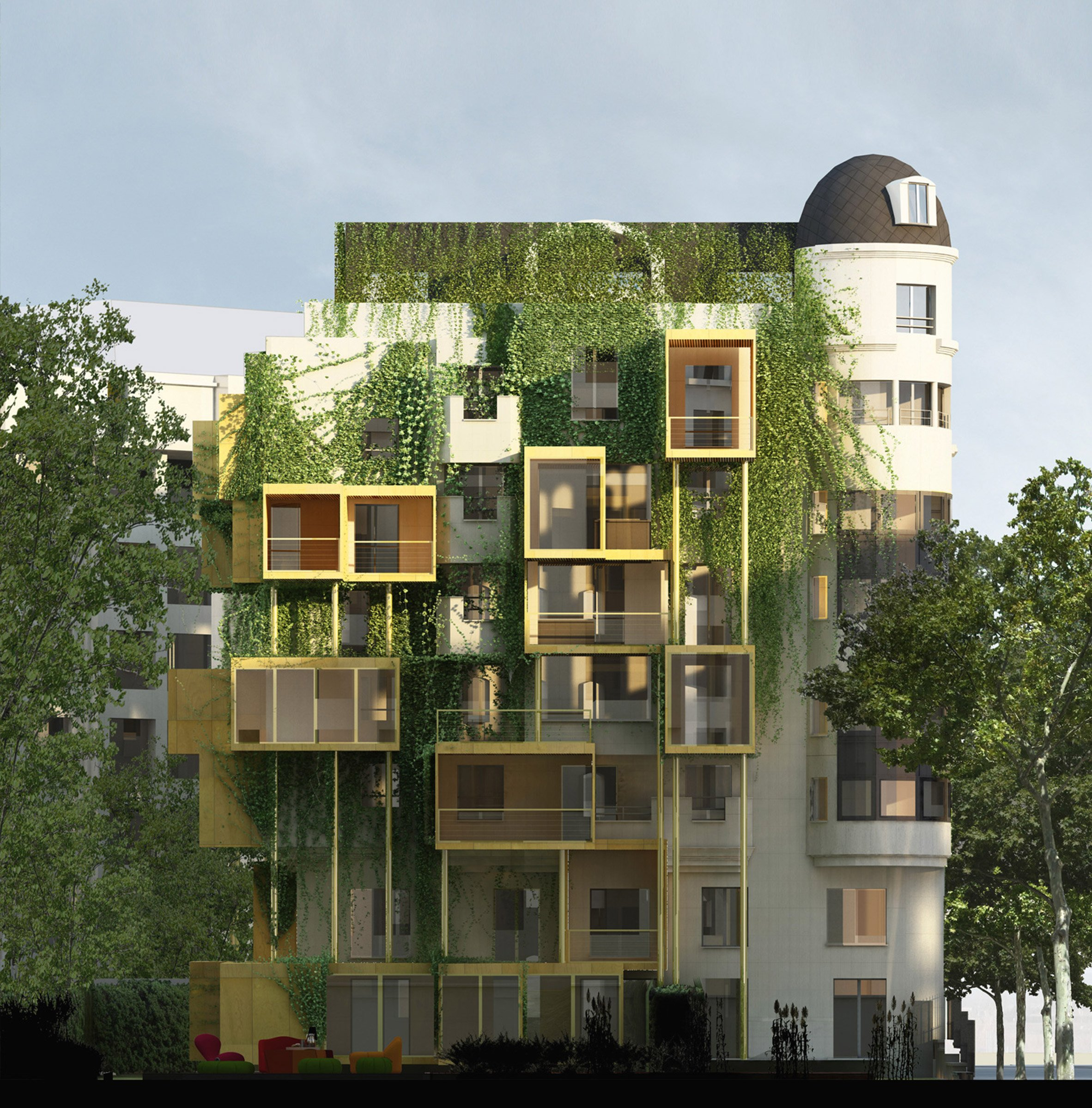 Parasitic extensions to Paris apartment building could reduce energy consumption