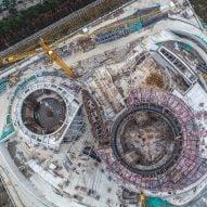 Drone footage shows progress on Ennead Architects' Shanghai Planetarium