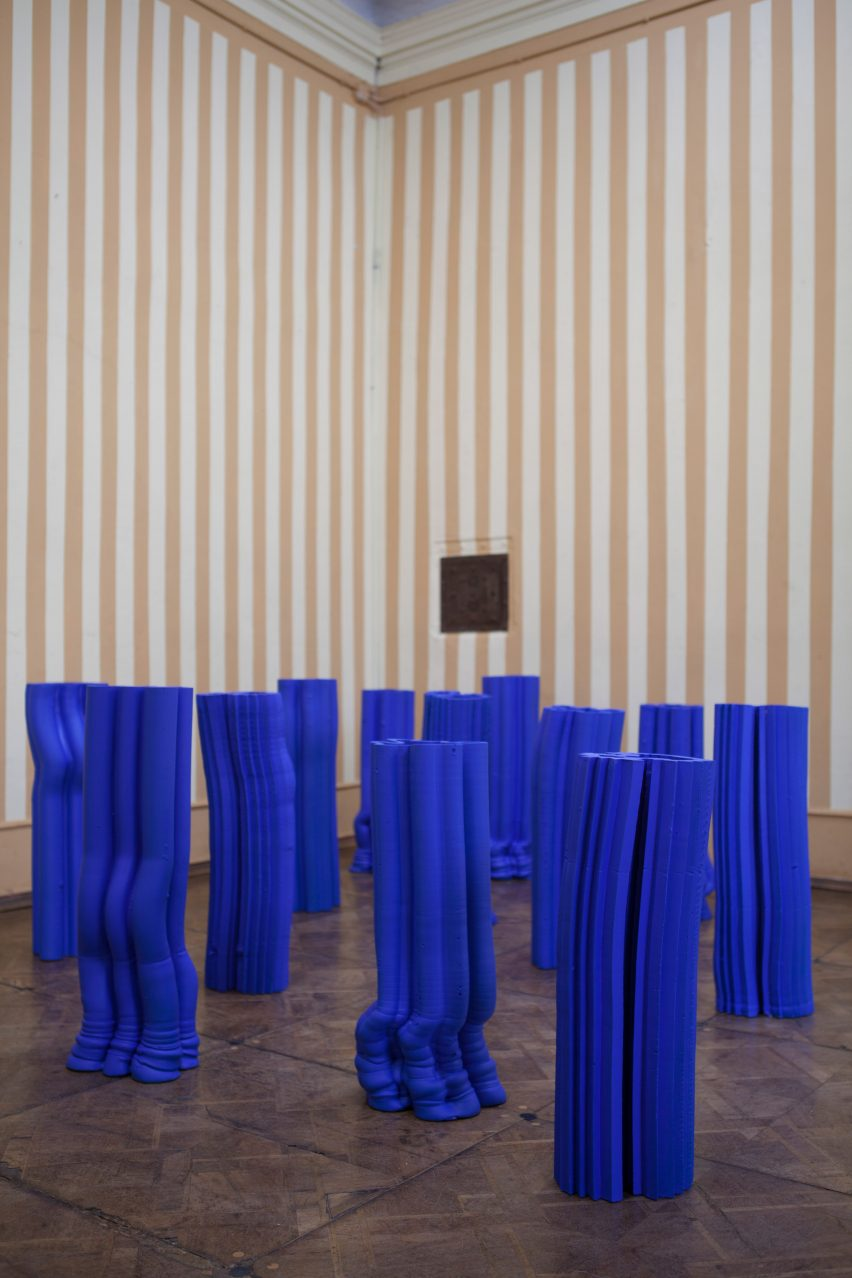 Alton Alvarez adopts Yves Klein's signature blue for extruded vases