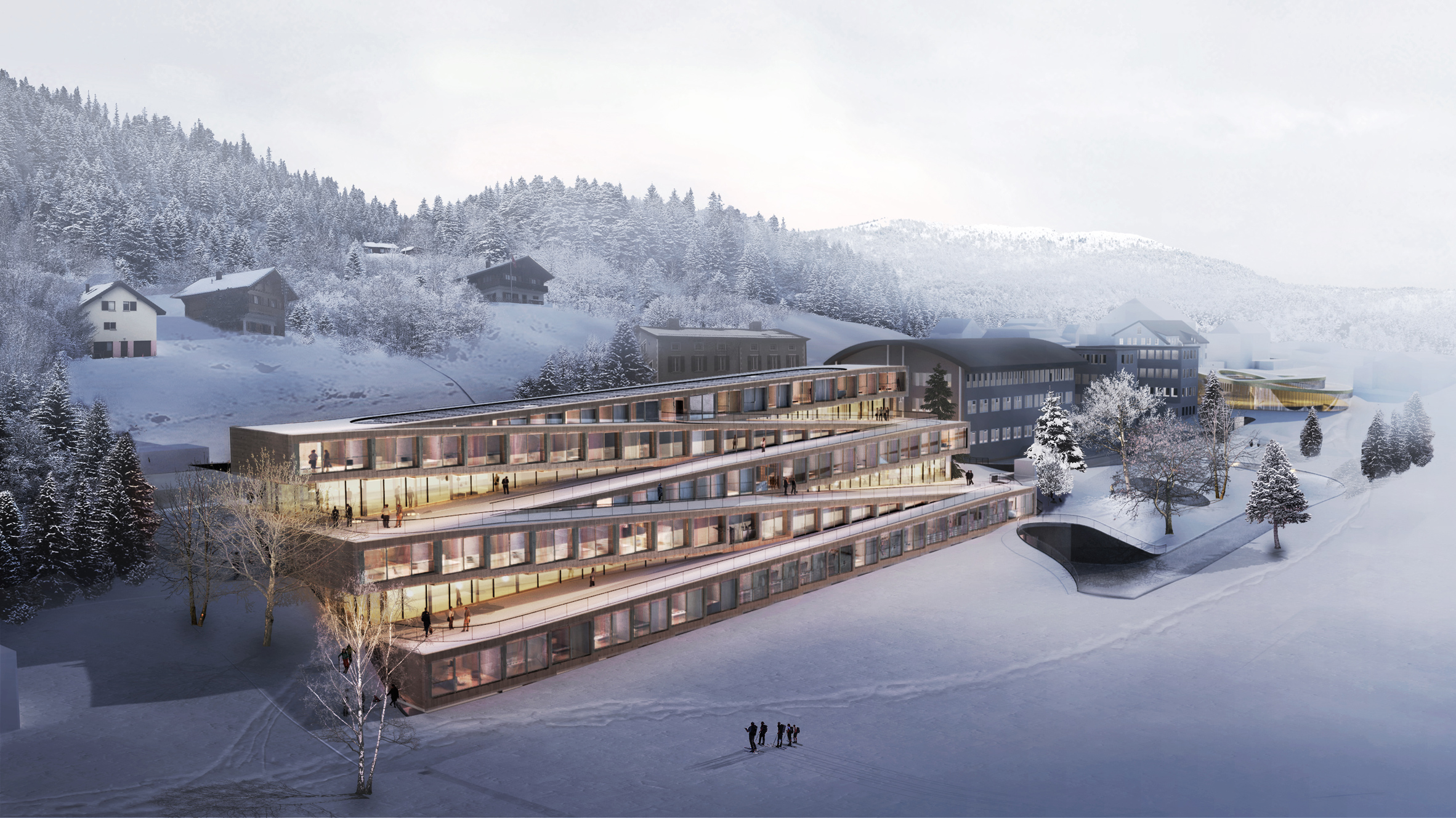 free shipping 20ea3 011dd BIG reveals plans for Swiss hotel with zigzagging ski slope on its roof