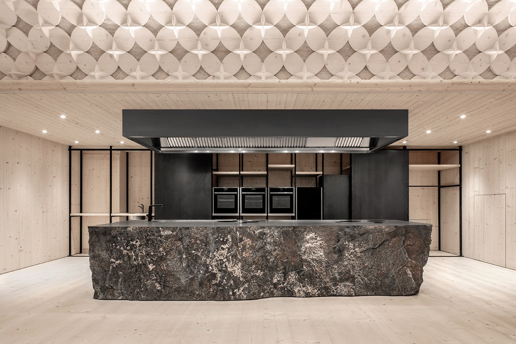 A kitchen island made from porphyry