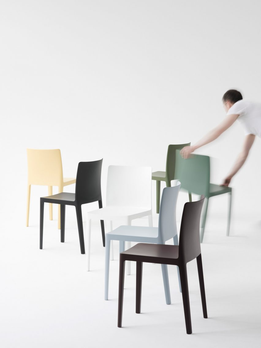 Launched at milan design week the chairs featured in an exhibition by hay sonos and wework where contemporary furniture and products were juxtaposed