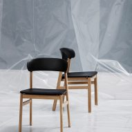 "Simon Legald's Herit chair for Normann Copenhagen is ""draped in nostalgia"""